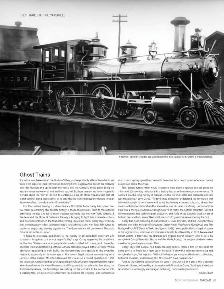 Rails to the Catskills, review by Chronogram
